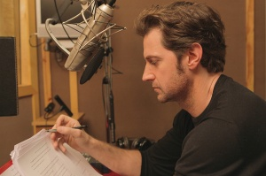 Richard Armitage at work on the Hamlet audiobook, 2014.