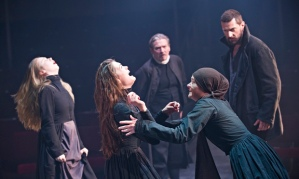 Mary Warren (Natalie Gavin) confronts a possessed Abigail (Samantha Colley) as Proctor (Richard Armitage) and Reverend Parris (Michael Thomas) look on, in Act Three of The Crucible. Source: Geraint Lewis Collection