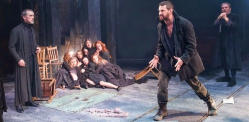 Hale (Adrian Schiller) watches as Proctor (Richard Armitage) ends Act Three of The Crucible in a flurry of self-accusations. Source: