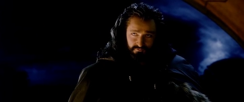 Thorin Oakenshield (Richard Armitage) makes his entrance at Bag End, in The Hobbit: An Unexpected Journey. Screencap.