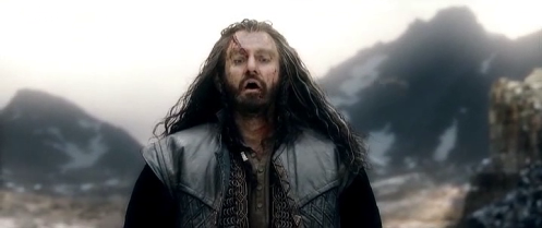 Thorin Oakenshield (Richard Armitage) gazes down at Erebor after killing Azog, in The Hobbit: The Battle of the Five Armies. Screencap.