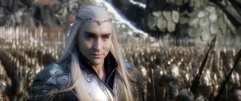 """Thranduil (Lee Pace) reacts to Dain's threat to split his """"pretty"""" head, in The Hobbit: The Battle of the Five Armies. Screencap."""