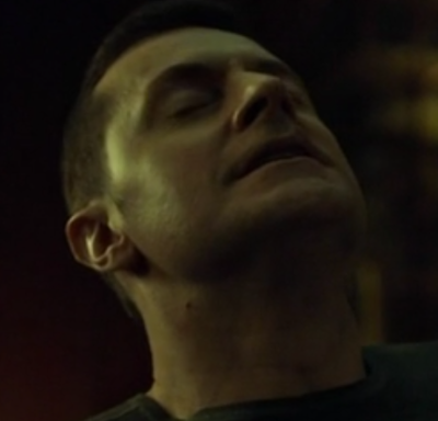 Dolarhyde (Richard Armitage) responds as Reba strokes his thigh, in Hannibal 3.10. Screencap.