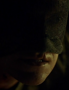 All mouth: The Dragon / Dolarhyde (Richard Armitage) forces Chilton to look at him, in Hannibal 3.12.