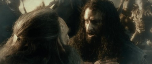 Thrain (Antony Sher) wants Thorin (Richard Armitage) to stay out of the thick of battle at Moria, in The Hobbit: The Desolation of Smaug. I suppose this was green screen and they were in separate rooms but I wonder if they reminisced about Macbeth?