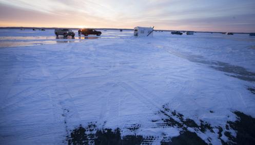 Trucks and shanties on Lake Winnebago last year. Source: Milwaukee Journal-Sentinel