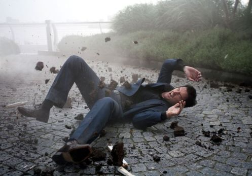 Lucas North (Richard Armitage) reels from an explosion that killed Ros at the end of Spooks series 8.