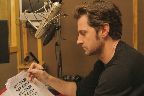 Richard Armitage records the telephone book in the audible.com studios.