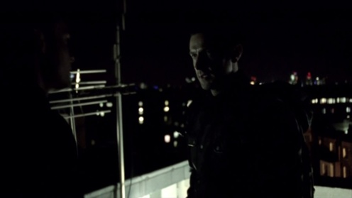 Lucas North (Richard Armitage) emerges on the roof of the Chinese Embassy in London, in Spooks 9.4. Source: RichardArmitageNet.com