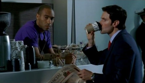 Ben (Alex Lanipekun) and Lucas North (Richard Armitage) wait in case they need to help Ros with Meynell, in Spooks 7.5. Source: RichardArmitageNet.com