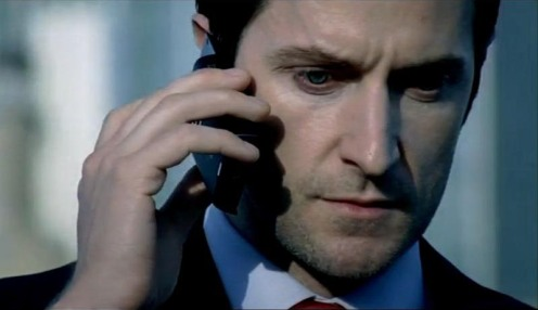 Lucas North (Richard Armitage) calls Elizabeta for help, in Sppoks 7.5. Source: RichardArmitageNet.com