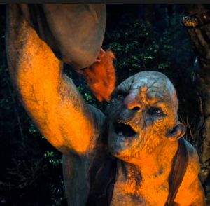 A troll prepares to cook Bombur in The Hobbit: An Unexpected Journey. Screencap.