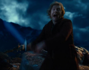 Bilbo (Martin Freeman) decides to intervene to defend Thorin against the wargs, in The Hobbit: An Unexpected Journey. Screencap.