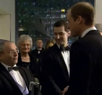 From left, Sylvester McCoy, Margaret Armitage, Richard Armitage, Prince William in London for the Royal Premiere of The Hobbit: An Unexpected Journey, December 2012.