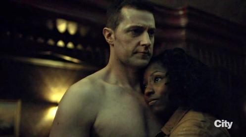 Richard Armitage as Francis Dolarhyde and Rutina Wesley as Reba McClane in Hannibal. Screencap.