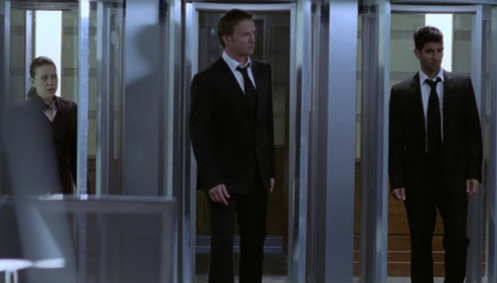 Ruth (Nicola X), Adam (Rupert Penry-Jones) and Zaf (Raza Jaffrey) enter the Grid through the pods.