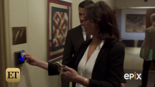 Valerie Edwards (Michelle Forbes) and Daniel Miller (Richard Armitage) shortly after their meeting in Berlin Station. Trailer; screencap.