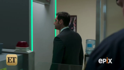 Daniel Miller (Richard Armitage) goes through the security check to enter the U.S. Embassy. Trailer for Berlin Station. Screencap.