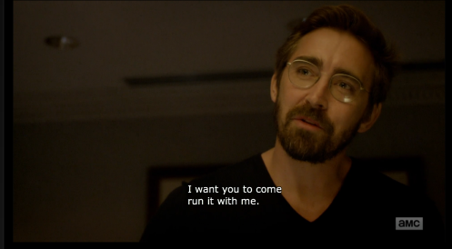 Joe MacMillan (Lee Pace) wants Gordon to come back to work with him, in Halt and Catch Fire 3.2.