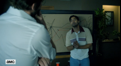 Joe (Lee Pace) and Ryan (Manish Dayal) figure out how to position the commercial Internet, in Halt and Catch Fire 3.5. Screencap.