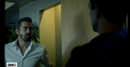 Joe (Lee Pace) gets a mysterious visitor, in Halt and Catch Fire 3.5. Screencap.