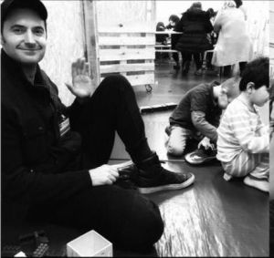 Richard Armitage at a visit to the Berliner Stadtmission refugee shelter in Spandau, Spring 2016.