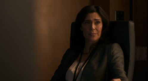 """Valerie (Michelle Forbes) gives Steven and Robert her """"what we white man?"""" look. Berlin Station 1.5. Screencap."""