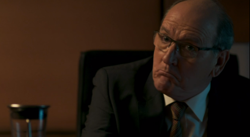 Steven (Richard Jenkins) in the middle of his temper tantrum. Berlin Station 1.5. Screencap.