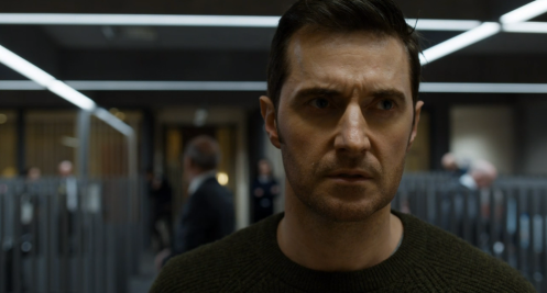 Beautiful shot of Daniel Miller (Richard Armitage) looking upset.