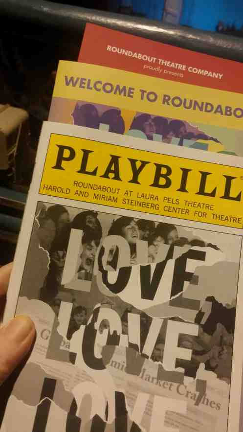I didn't know this was a thing, but since it is I decided to try it. You can see the mezzanine rail behind the playbill.