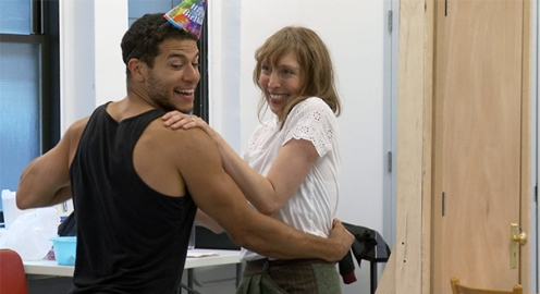 Alex Hernandez as Dom and Crystal Finn as Layne in rehearsal for Kingdom Come. Photo by Joan Marcus.