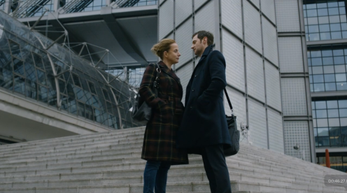 Beautiful shot of Patricia and Daniel against the exterior of Berlin main station.