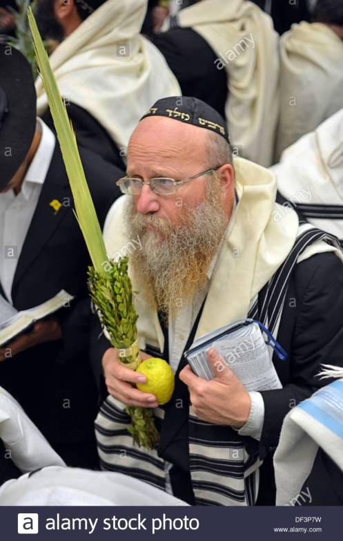 An observant Jew preparing to pray with the lulav and etrog.
