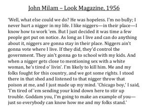 Milam's statement to Look in 1956.