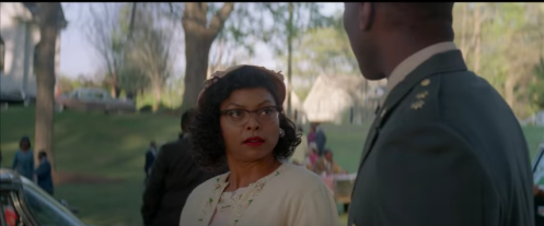 "Katharine Goble (Taraji P. Henson) gives her future husban the stinkeye when he says he didn't realize woman would be doing such ""taxing"" work."