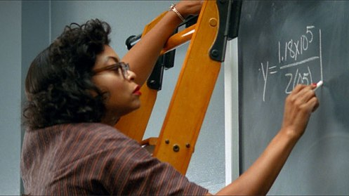 Katherine Goble (Johnson) [Taraji P. Henson] does her math at the chalboard in Hidden Figures.
